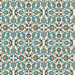 Impresión comestible arabesco azul y amarillo